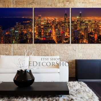 CANVAS ART Chicago City Night Skyline Printing - 3 Panel - For Home or Office Decoration - Large Size Wall Art Canvas