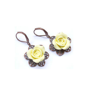 Yellow Rose Earrings. Pastel Flower Drop Earrings. Antique Brass. Flower Jewelry