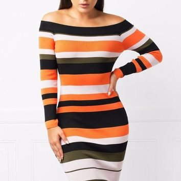 Laila Off Shoulder Striped Dress