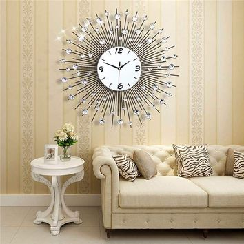 2019 Luxury Diamond Wall Clock Iron Art Metal Crystal 3D Large Wall Clock Round Watch Mirror Diamond Hanging Clocks Home Decor