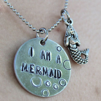 I am a Mermaid, Trendy Hand Stamped Necklace