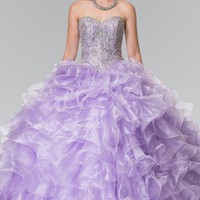 Puffy quinceanera dress with ruffles gls 2209