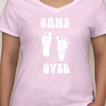 Game over New Baby Hanes Ladies V-Neck Nano-T available in black, light blue and light pink