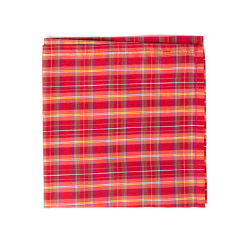 Red & White Holiday Silk Pocket Square