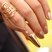 Blossom Flower Nail and Finger Chain Fashion Ring (Gold) | LilyFair Jewelry