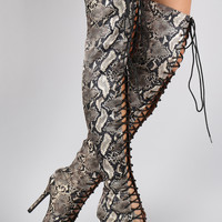 Liliana Python Peep Toe Lace Up Stiletto Thigh High Boot
