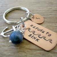 Refuse to Sink Keychain with anchor charm and sodalite bead, inspirational, empowerment, motivational, optional initial disc