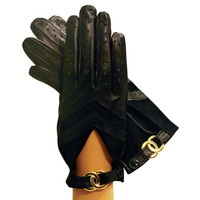 Black Women's Driving Gloves Italian Leather With Buckle. Unlined