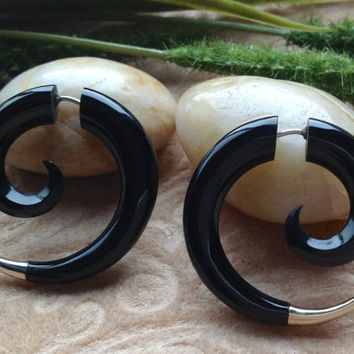 Fake Gauge Earrings, Small Spirals, Naturally Organic, Horn, Hand Carved, Tribal