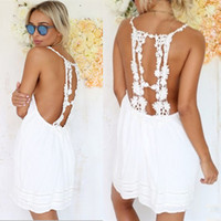 Spaghetti Strap Solid Lace Backless Sleeveless Short Dress