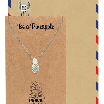 Khalee Pineapple Charm Necklace for Women, Inspirational and Motivational Quote