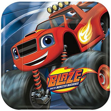 Blaze And The Monster Machines Lunch Plates (24 Count) With Bonus Candles
