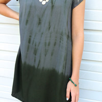 Cypress Springs Charcoal & Olive Scoop Neck Tie Dye Dress With Back Cutout