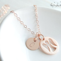 Tiny Guardian Angel Necklace Guardian Angel Charm Rose Gold necklace Rose Gold necklace Gold Angel Necklace Gifts Remembrance Jewelry