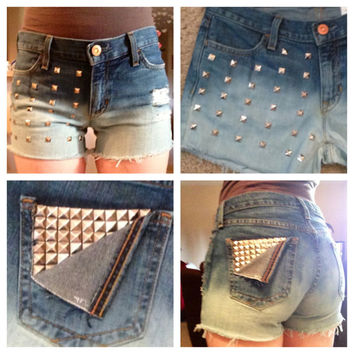 High waisted destroyed and studded ombre shorts