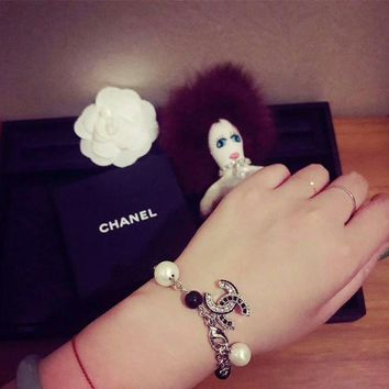 Chanel logo high carbon zp Pearl bracelet hand chain in 18K gold plating