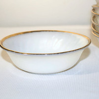 Fire King Oven Ware Golden Anniversary White Swirl Berry Bowls Set of 8, Vintage Dinnerware Dishes Anchor Hocking