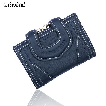 Women's Genuine Leather MIWIND2017 new well-known brand ladies cowhide wallet high quality fashion multi-functional wallet bag