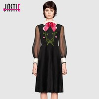 Jastie Pink Satin Bow Embroidered Dress Floral Sequin Bead Autumn Dress Women Italy Sheer Long Sleeve Pleated Dresses Vestidos