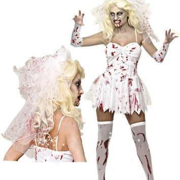 Scary White Bridal Halloween Costume