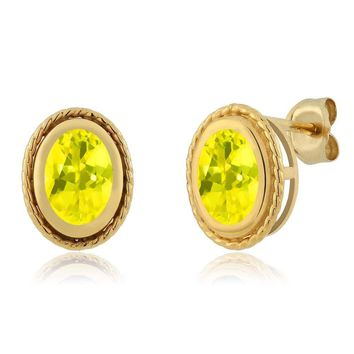 1.90 Ct Oval Shape Canary Mystic Topaz Yellow Gold Plated Silver Stud Earrings