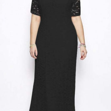 Women's Extra Plus Size Full Lace Long Wedding Dress