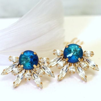 Bridal Blue Earrings, Bridal Blue Navy Earrings,Capri Blue Earrings, Swarovski Bridal Earrings, Bridesmaids Earrings, Bridesmaids Earrings