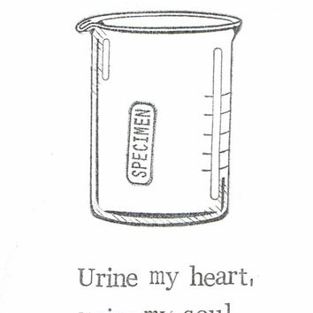 Urine My Heart Card Funny Medical Humor Lab Sample Specimen Pun Love Friend Doctor Nurse Technician Chemistry Geekery Weird Science
