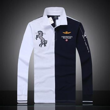 Autumn And Winter Air Force One men's long-sleeved polo shirt embroidered breathable c