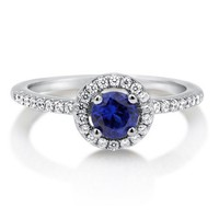 Round Sapphire Cubic Zirconia CZ Sterling Silver Halo Ring 0.63 ctw #r569