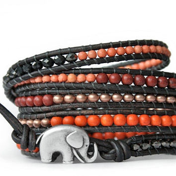 Copper, Orange and Brown... Spring 2013 Beaded Leather Wrap Bracelet - the lucky elephant Original with Good Luck Elephant