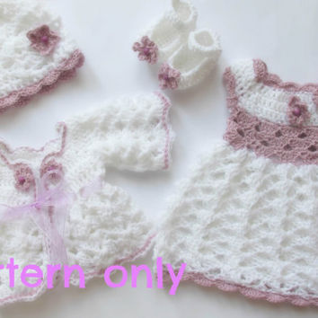 Baby sweater, dress,hat and shoes pattern , 5 SIZES -newborn to 12 months , crochet pattern, baby girl set crochet pattern i