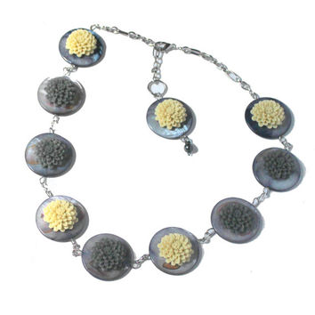 Chrysanthemum Flower Beads, Statement Necklace,  Mother of Pearl,  Grey Ivory Necklace, Fashion Statement