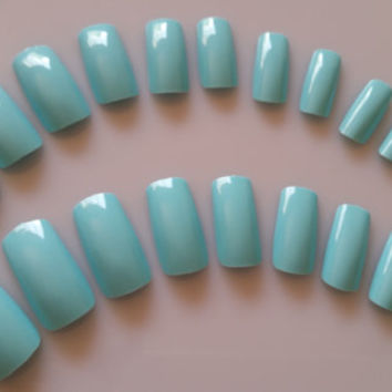 20 Baby Blue Nails, Press on Nails, Glue on Nails, Medium Long Nails, Fake Nails, Blue Fake Nails