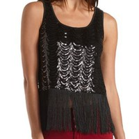 Sequin and Fringe Tank Top by Charlotte Russe