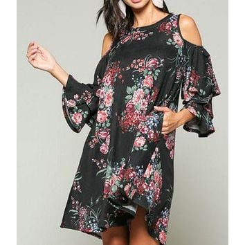 Black and Red Floral Cold Shoulder Dress with Ruffled Sleeves