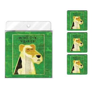 Tree-Free Greetings NC37992 John W. Golden 4-Pack Artful Coaster Set, Wire Fox Terrier
