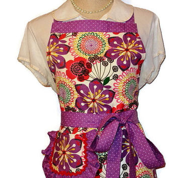 Purple and Red Floral Full Apron - Puple Polka Dot Trim - Adult