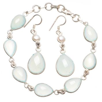 """Natural Chalcedony Pearl Mexican 925 Sterling Silver Jewelry Set, Earrings:2 Bracelet:7 1/4-7 3/4"""" T8841"""