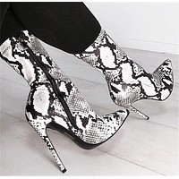 Snake Print Zipper Half Boots High Heels Shoes