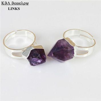 DCCKU62 Natural Crystal Purple Quartz Stone Ring,Crystal Piont Druzy Stone Ring,Silver Plated  Gem Ring
