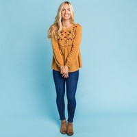 Academy Embroidered Top - Toffee | Called To Surf