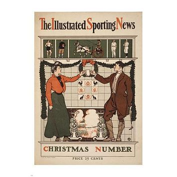THE ILLUSTRATED SPORTING NEWS CHRISTMAS edward penfield ad poster 24X36 rare