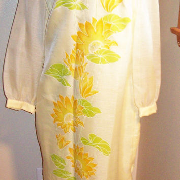 Vintage 60s Alfred Shaheen Bright Yellow Floral Print Maxi Hawaiiian Aloha Dress / Resort Cocktail Dress / Sheer Sleeves