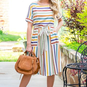 Waist Tie Rainbow Pocket Dress