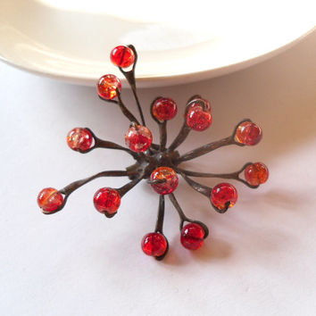 Contemporary jewelry, funky brooch, copper wire brooch, red beaded jewelry, statement  brooch, sculpture brooch, Red snowflake