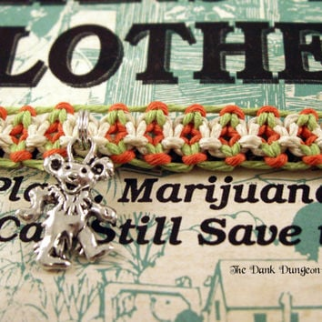 Orange Lime Green Glow in the Dark Hemp Dancing Bear Bracelet, Grateful Dead Roach Clip Hemp Bracelet, Macrame Roach Clip Hippie Bracelet