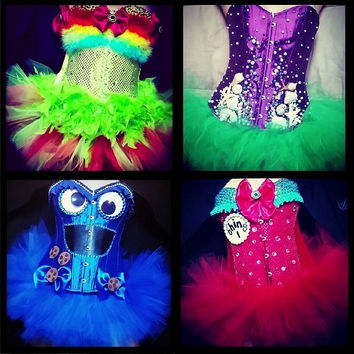 Custom Corset + FULL Tutu **Costume is great for Raves, Parties, EDC, Ultra Music Festival, Electric Zoo**