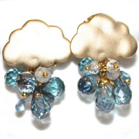 London Blue Mystic Topaz Faceted Pear Gold Vermeil Cloud Cluster Dangle Earrings Handmade Gemstone Jewelry
