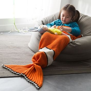 Finding Nemo Clown Fish Tail Blanket For Children KID knit b lanket knitted tail costume cosplay